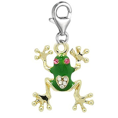 SEXY SPARKLES Clip on Frog Charm Dangle Pendant for European Clip on Charm Jewelry with Lobster - Sparkle Frogs