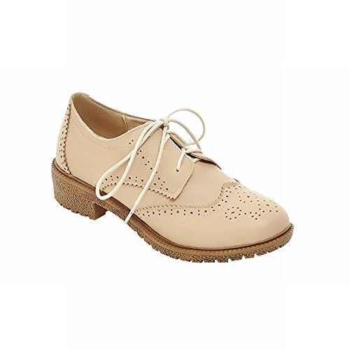 Carolbar womens british style retro vintage lace up comfort low heel oxfords shoes Beige xXjcRG