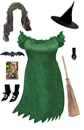Cute Cavewoman Halloween Costumes (Sanctuarie Designs Womens Sexy Green Witch /Deluxe/ Plus Size Supersize Halloween Kit/Deluxe/0x/Green/)