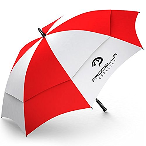 Procella Umbrella Golf Umbrella Tested by Skydivers Windproof Auto Open Rain and Wind Resistant, Large, Red/White