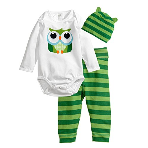 Big Elephant Unisex-Baby 3 Piece Long Sleeve Pants Clothing Sets R2 (12-18 Months, Green)