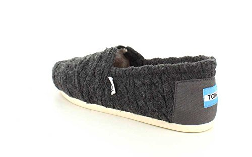 TOMS Womens Low Top Lightweight Casual Shoes Forged Iron Grey Cable Knit With Shearling Ohqbio