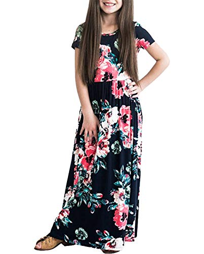 Dutebare Girls Summer Short Sleeve Floral Maxi Dress Casual Long Dresses with Pockets