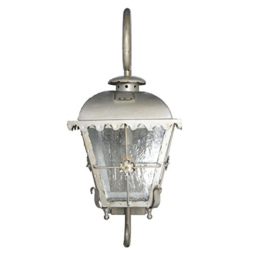 Cocoweb Tullamore Outdoor Hanging Wall Lantern | LED Light Bulb Included | Clear Seeded Glass - Small (Patina Large Outdoor Hanging)