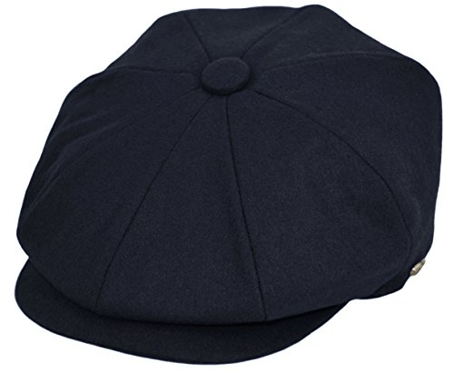Classic Men's Wool Herringbone Newsboy Cap Driving Cabbie Tweed Applejack Golf Hat (1595-Navy, Medium)