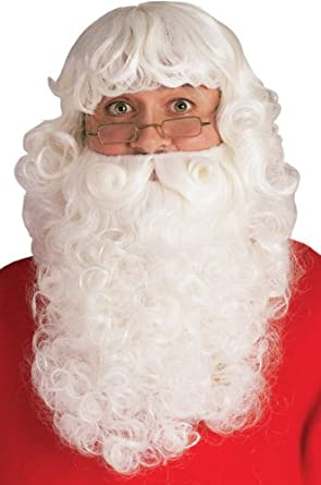 Rubie's Deluxe Santa Beard And Wig Set White One Size Rubies Costumes - Apparel 2346