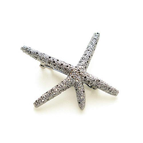 MOPOLIS 49 Styles Crystal Rhinestone Flower Geometry Barrette Hair Clip Clamp Hairpin | Colors - #45 Starfish Silver