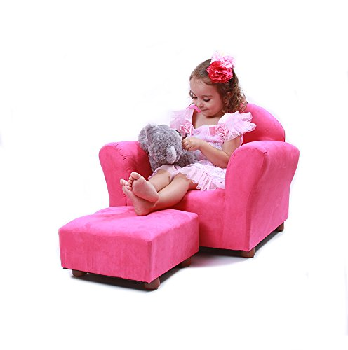 KEET Roundy Child Size Chair with Microsuede Ottoman, Hot Pink, Ages 2-5 years (Microsuede Child Recliner)