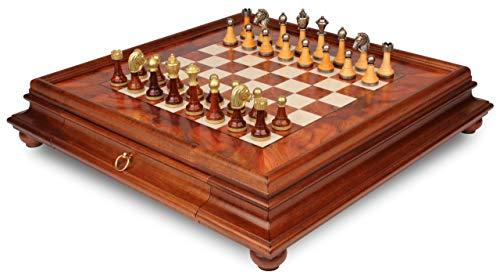 Italian Arabesque Staunton Metal & Wood Chess Set with Elm Burl Chess Case