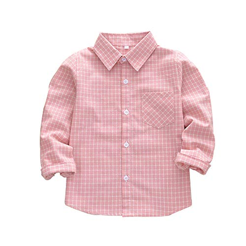 Long Flannel Sleeve Kids (Kid Girl Boy Long Sleeve Button Down Plaid Flannel Shirt Pink Tag 140-US 6T)
