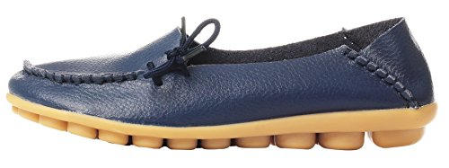 Lace Cowhide Womens Driving Flat Casual Leather Dark up Serene Blue Loafers EIOxZqWw