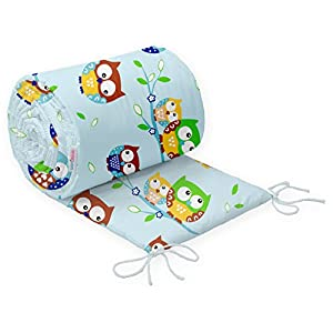 Baby Infant Padded Bumper for COT 120×60 Straight 180 cm 100% Cotton (13. Owls Blue)
