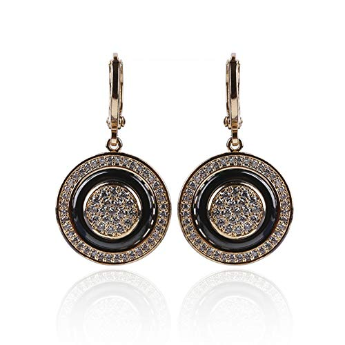 (GEDASHU Earrings Round Micro Wax Inlay Natural Zircon Ceramic Rose Gold Women Wedding Fine)