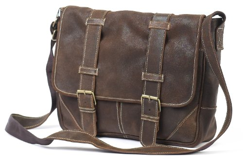 Claire Chase Sorrento Computer Messenger, Distressed Brown, One Size by ClaireChase