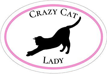 WickedGoodz Oval Vinyl Crazy Cat Lady Decal Perfect Mom Gift Cat Bumper Sticker