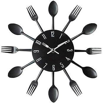 CHTOP Cutlery Metal Kitchen Wall Clock - Spoon Fork Creative Quartz Wall Mounted Clocks - Modern Design Decorative Horloge Murale (Black)