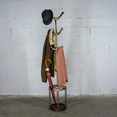 Furniture Pipeline 3-Tier Metal Pipe Wooden Coat Hat Clothes Rack with Umbrella Holder & Six Hooks (Rustic Bronze Combo with Light Brown Stained Wood)