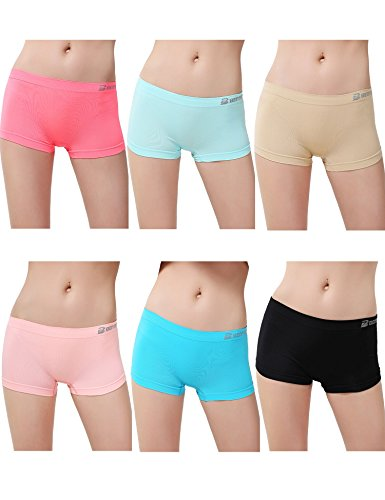 Women's 6 Pack Sports Boy Short Cut Hipster Panties Seamless Boxer Briefs Underwear L/XL