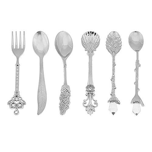 Dessert Spoons, Coffee Spoon Teaspoon, Awakingdemi Vintage Royal Style Metal Carved Fruit Dessert Spoons for Kitchen Dining Bar, 6pcs/set (Sliver)