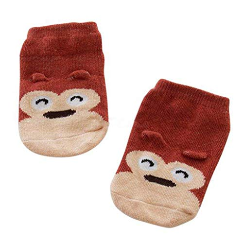 yingyue Cute Cartoon Animal Pattern Cotton Blend Breathable Soft Unisex Baby Toddler Ankle Anti Slip Socks Brown Monkey M(2-4y)]()