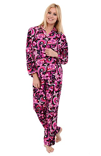 Alexander Del Rossa Womens Woven Cotton Pajama Set with Pants, Long Sleeve Button Down Pjs, Small Retro Butterflies Hearts Flowers (A0517P92SM) -