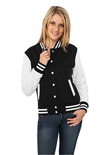 Classic College Jackets white Long Ladies Sweater tone 2 Women's Urban Black Sweatjacket Sleeve ZX4wdq6Zx