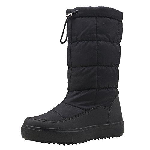 [Shenji] レディースブーツ スノーブーツ ロングブーツ 防寒防滑雪靴 ブラック 23cm