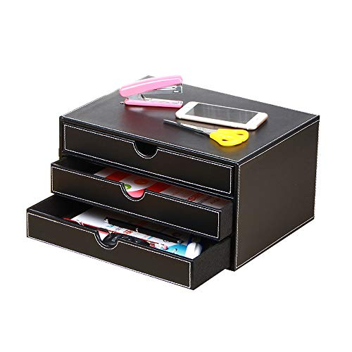 (Office Desk Supply Organizer Leather Letter Trays, 3 Drawers Files Sorter Cabinet Document Holder Workplace Desktop Storage Box for Stationery/A4 Paper/Magazine/Book/Newspaper/Jewelry/Sundries, Black)