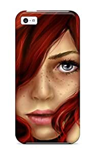 Iphone Perfect Tpu Case For Iphone 5c Anti Scratch Protector Case Beautiful Red Hair Girl Drawing