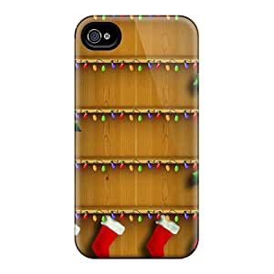 Durable Defender Case For Iphone 4/4s Tpu Cover(christmas Shelfs)
