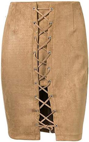 XGDLYQ Gris Lace Up Bow Faldas Cortas Falda de Cremallera de Cuero ...