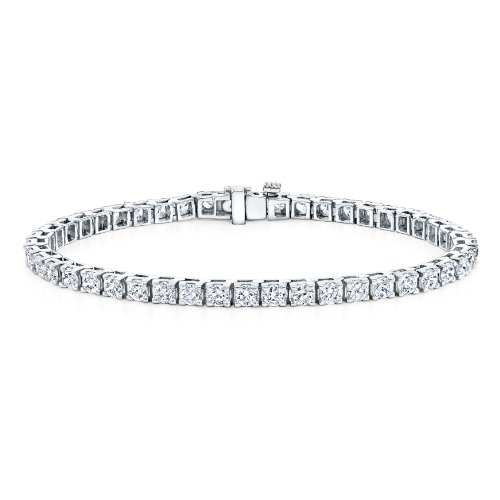 14k White Gold Round Cut Diamond Tennis Link Bracelet 4-Prong (3 cttw, G-H Color, VS2-SI1 Clarity)