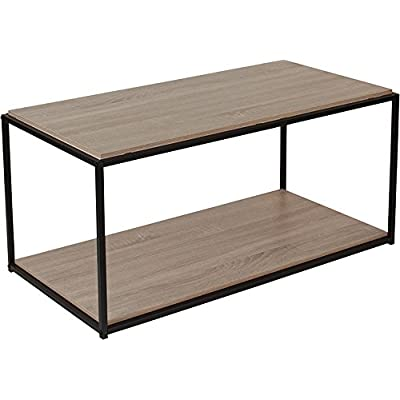 contemporary sleek design oak wood grain finish coffee table wblack metal frame - Metal Frame Coffee Table