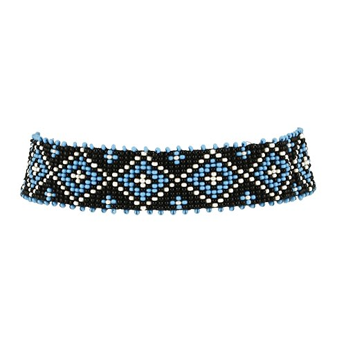 El Allure Seed Bead Native American Inspired Style Seed Beaded Choker Black, Off White and Turquoise Patterned Handmade Delicate Costume Fashion Unique Preciosa Jablonex Necklace Choker for Women.