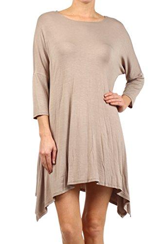2LUV Plus Women's Dolman Sleeve Asymmetric Knit Tunic Dress Khaki 3XL (D235)