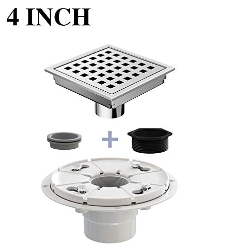 Ushower Square Drain for Shower 4 Inch with Drain Base Flange, Grate Cover Square Floor Drain Stainless Steel Brushed Nickel with Threaded Adapter, Rubber Coupler, Hair Strainer for Bathroom Kitchen - Grid Shower Drain Cover