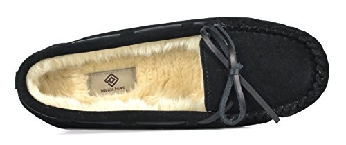 Loafers Women's Flats Shoes Faux Black Slippers PAIRS DREAM Fur Shozie gqUx6R