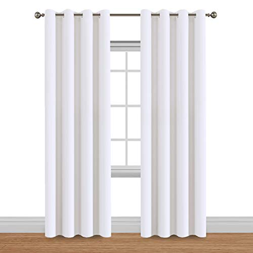 (Flamingo P White Curtains Room Darkening Curtain Panels - 2 Panels Solid Elegant Drapes Pure White Window Treatment Thermal Insulated Grommet Top Curtains Each Panel 52