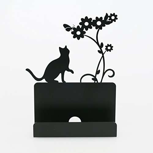 Business Card Holder Stand For Office Coffee Shop Store Organizer Christmas Valentines Day Graduation Gift - Cat Shape -Black Cute Business Cards