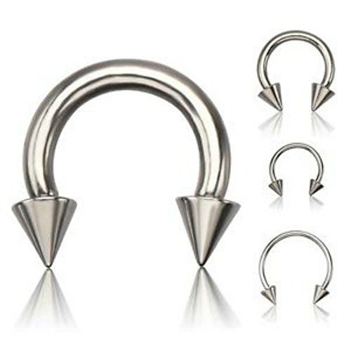 - Inspiration Dezigns 1PC 316L Surgical Steel Horseshoe Circular Barbell Ring Spike Body Piercing Lip Tragus Earring Nipple Nose Septum