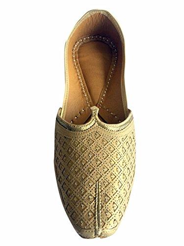 Étape N Style Hommes Plat de mariage Doré Khussa Chaussures en cuir traditionnel Indien Flâneur panjabi jutti