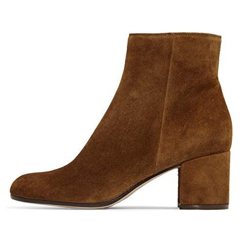 Ankle YDN with Side Block Zips Brown Booots Chic Shoes Round Heel Booties Toe Low Women SSXnqT