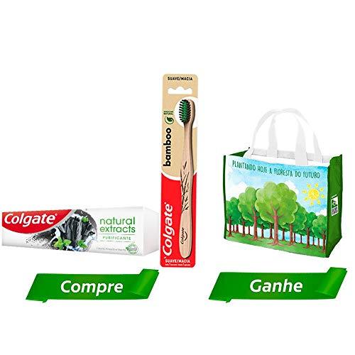 Kit Creme Dental Colgate Natural Extracts Purificante 90g+ Escova Dental Bamboo + Sacola Ecologica
