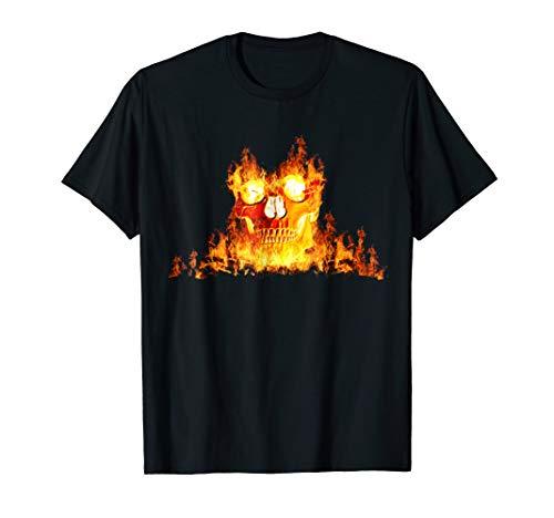 Burning Skull Halloween T-Shirt - Scary Face Ghost Design ()