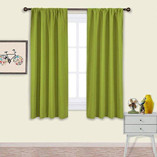 NICETOWN Green Blackout Draperies Curtains - Thermal Insulated Solid Rod Pocket Top Blackout Curtains / Drapes for Kid's Room (1 Pair,42 x 63 Inch, Fresh Green)