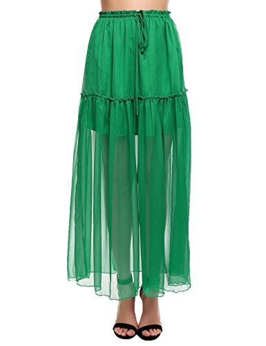 Zeagoo Women A-Line Pleated Sheer Chiffon Maxi Skirt with Ruffle Elastic Drawstring Waist(Green,M)