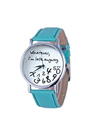 ODGear Hot Women Quartz Analog Leather Watch Whatever I am Late Anyway Letter Watches, Casual Fashion Wristwatch (Green)