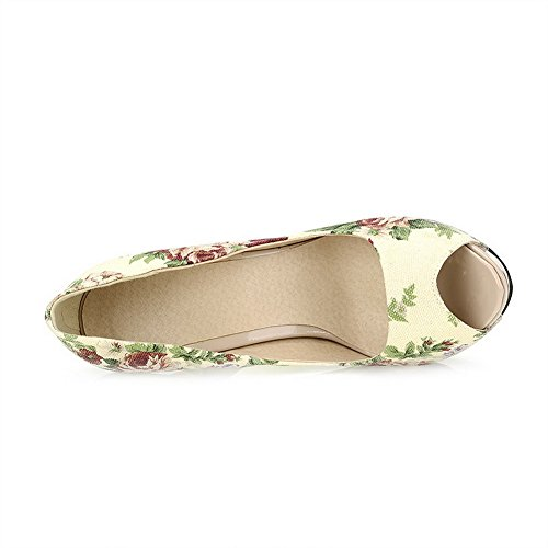 AgooLar Women's Fabric Assorted Color Pull On Peep Toe Spikes Stilettos Sandals Beige GC9tJG8Dnp