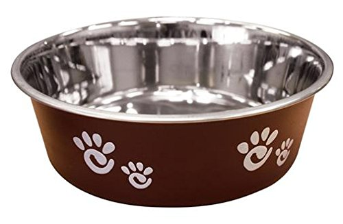 Ethical Pet Barcelona Matte and Stainless Steel Pet Dish, 8-Ounce, Chocolate