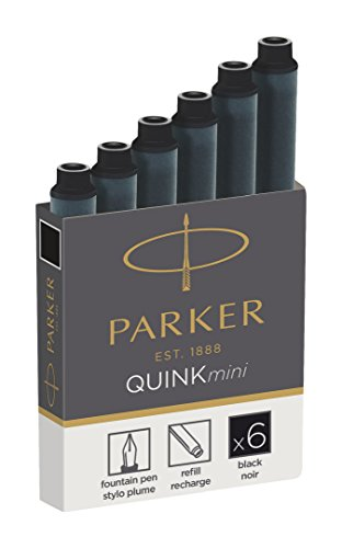Parker Quink Fountain Pen Refills, Shorts Cartridges, Black Ink, Pack of 6